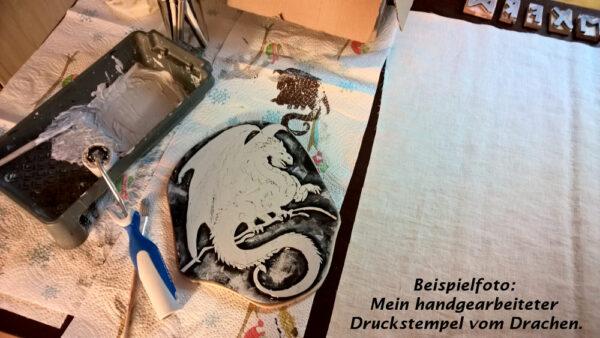 Babydecke-Leinen-Handbemalt-Druck-Drach-1