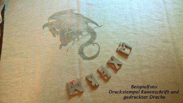 Babydecke-Leinen-Handbemalt-Druck-Drach-2