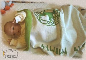 Babydecke-Leinen-Handbemalt-Lebensbaum-Rückenteil-Fleece-grün-mit-Puppe-Shop
