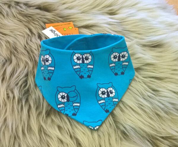 Babyhalstuch-Dreiecktuch-Eule-blau-Futter-blau