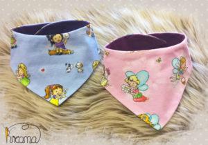 Babyhalstuch-Dreiecktuch-Mädchen-Feen-blau-rosa-2-Stück-Shop