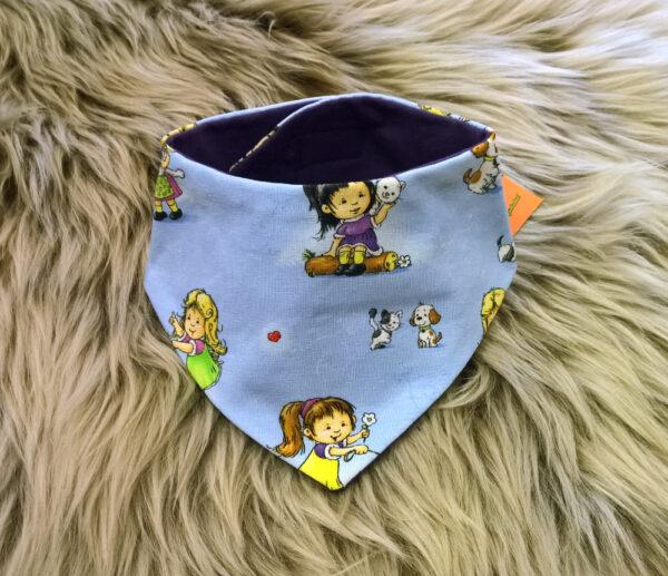 Babyhalstuch-Dreiecktuch-Mädchen-blau-Futter-lila