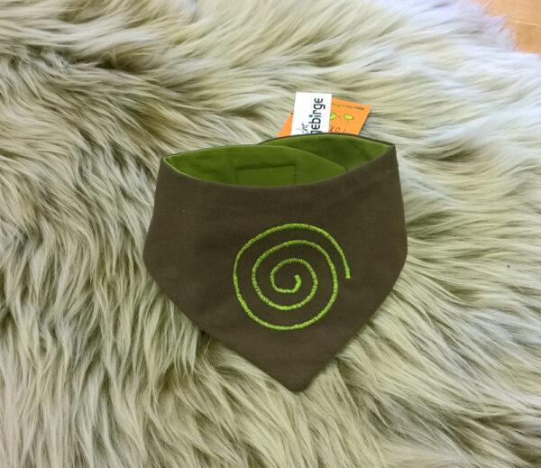 Babyhalstuch-Dreiecktuch-Spirale-braun-grün