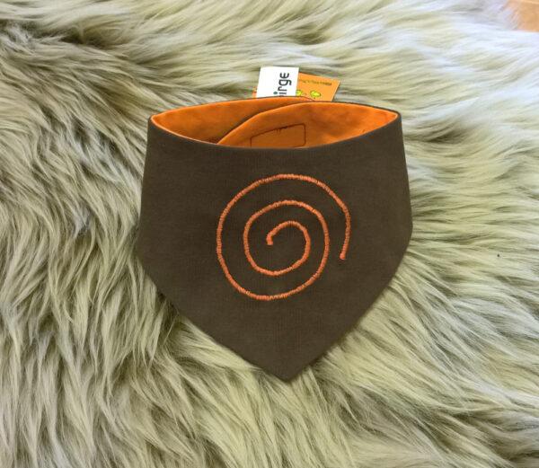 Babyhalstuch-Dreiecktuch-Spirale-braun-orange