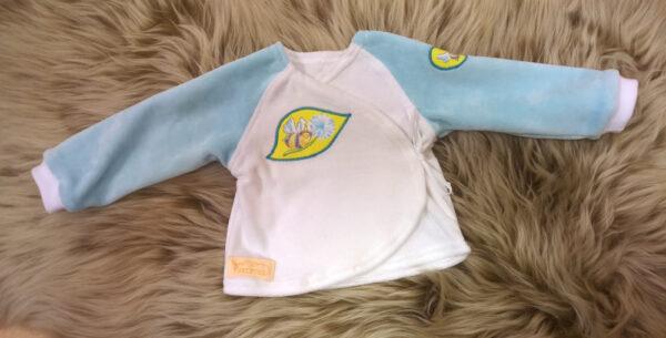 Babyshirt-Wickelshirt-Nicky-weiß-hellblau-mit-Applikation-Biene