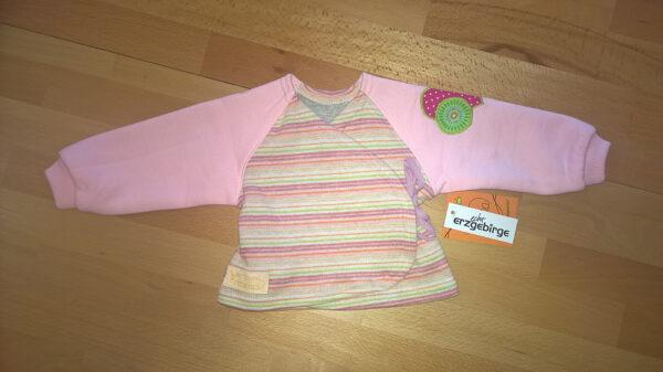 Babyshirt-Wickelshirt-Sreifen-rosa-Strick-Aermel-Sweat-rosa