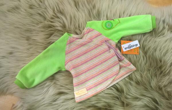 Babyshirt-Wickelshirt-Sreifen-rosa-Strick-Aermel-beide-gruen-Nicky