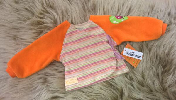 Babyshirt-Wickelshirt-Sreifen-rosa-Strick-Aermel-beide-orange-Nicky