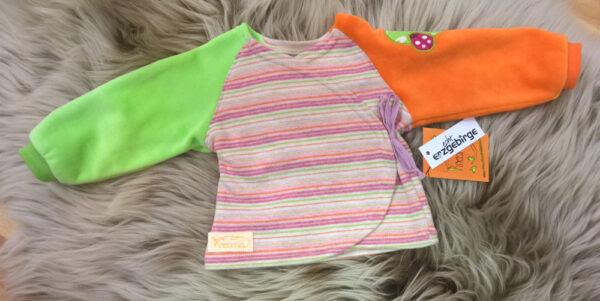 Babyshirt-Wickelshirt-Sreifen-rosa-Strick-Aermel-orange-gruen-Nicky