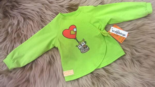 Babyshirt-Wickelshirt-Trico-grün-Applikation-Ballon