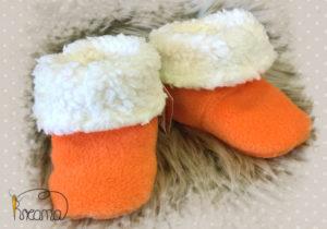Fellschuhe-Fleece-orange-natur-Shop