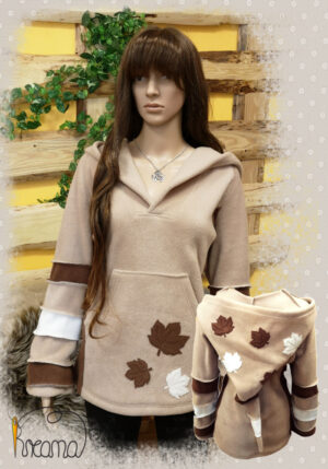 Fleecepulli-Blätter-beige-natur-braun-von-vorn-Shop