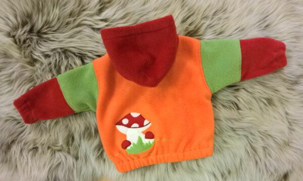 Fleecepulli-Fliegenpilz-rot-orange-grün-von-hinten