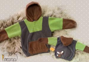 Fleecepulli-Fuchs-braun-grün-grau-von-vorn-Shop