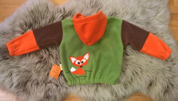 Fleecepulli-Fuchs-braun-grün-orange-von-hinten