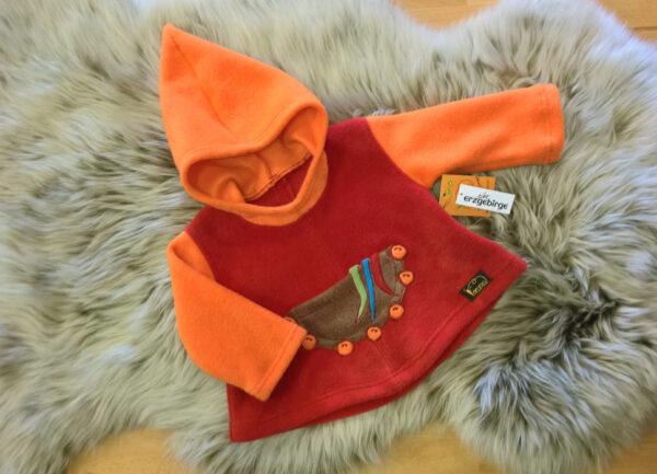 Fleecepulli-Narr-orange-rot-von-vorn