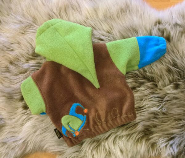 Fleecepulli-grün-blau-braun-Narr-von-hinten