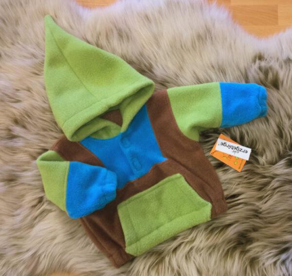 Fleecepulli-grün-blau-braun-Narr-von-vorn
