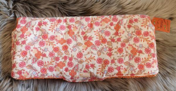 Kutschenmuff-natur-orange-rosa-Blumen