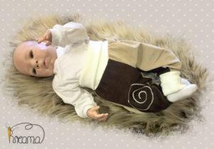 Pumphose-Babyhose-Cord-Spirale-beige-braun-Bündchen-natur-mit-Puppe-Shop