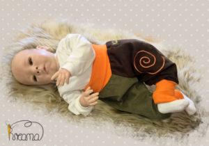 Pumphose-Babyhose-Cord-Spirale-braun-kaki-Bündchen-orange-mit-Puppe-Shop
