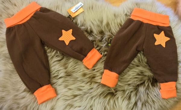 Pumphose-Babyhose-Sweat-braun-Punkte-Stern