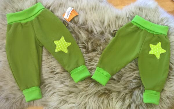 Pumphose-Babyhose-Sweat-grün-Punkte-Stern