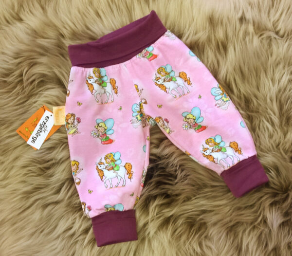 Pumphose-Babyhose-Trico-rosa-Elfen-Bündchen-lila