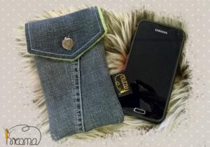 Smartphonetasche-Handytasche-Jeans-Knopf