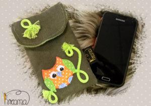 Smartphonetasche-Handytasche-Applikation-Eule-kaki-Cord