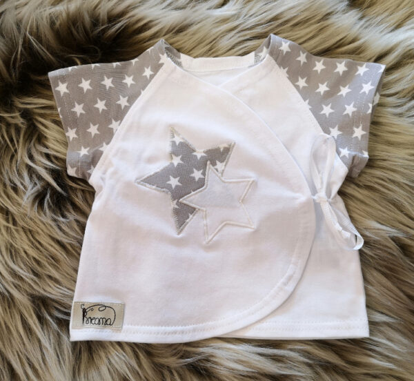 Wickelshirt-Sterne-grau-mit-Applikation-Sterne-ohne-Puppe