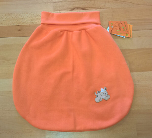 Strampelsack-Sweat-orange-Applikation-Hund