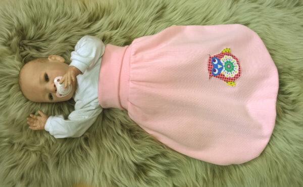 Strampelsack-Sweat-rosa-Applikation-Eule-mit-Puppe