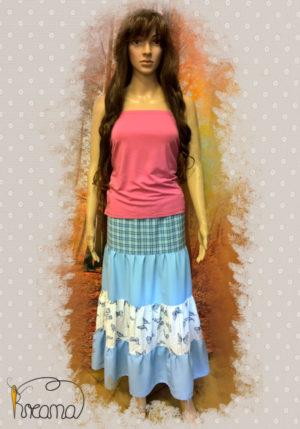 Stufenrock-Damen-blau-Schmetterlinge-Streifen-mit-Puppe-Shop