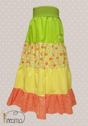 Stufenrock-Mädchen-grün-gelb-rosa-Blümchen-ohne-Puppe-Shop