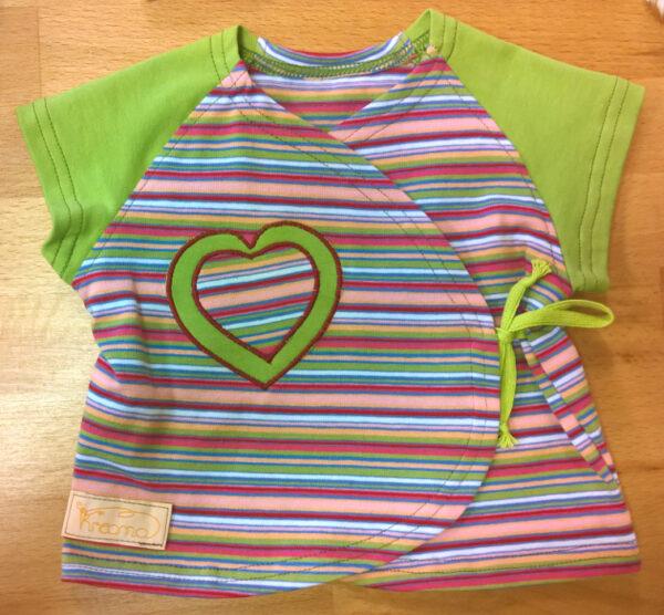 Wickelshirt-Trico-kurzarm-Streifen-bunt-Ärmel-grün